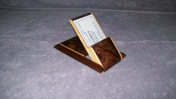 Fancy  Walnut and Maple Business Card Holder
