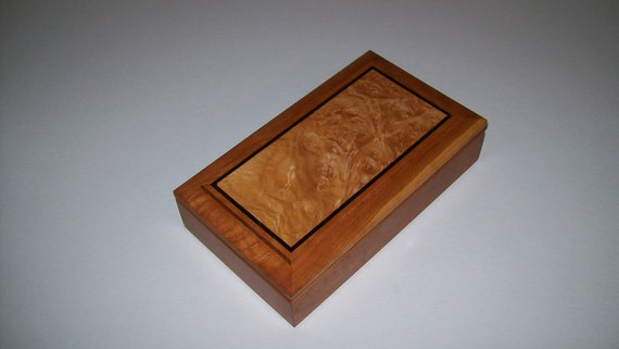 Wooden inlay Ring snd Earring box-Cherry and Maple Burl