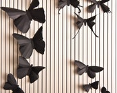 40 3D Soot Black Butterfly Silhouettes for Romantic Wall Art Installations in Living Room and Bedroom