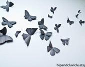 3D Butterfly Wall Art, Black Butterflies, 3D Wall Decor | Soot Black