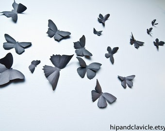 3D Butterfly Wall Art, Black Butterflies, 3D Wall Decor | Soot Black