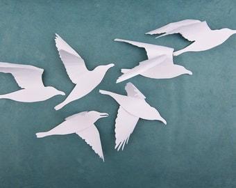 Seagull Wall Art, Beach Decor, 3D Bird Wall Art, White Birds, Nautical Birds, Shorebirds, A Flock of Seagulls