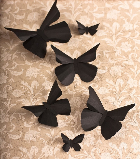Butterfly Wall Decor Tumblr : D wall butterflies black butterfly silhouettes for home