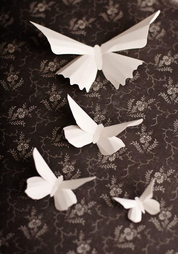 3d wall butterflies 20 snow white paper butterfly silhouettes for White paper butterflies