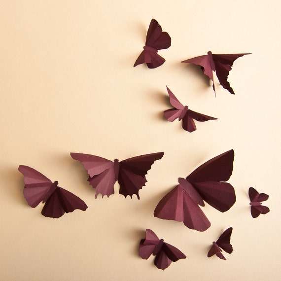 3D Wall Butterflies: Plum Butterfly Silhouettes for Girls Room, Nursery, and Home Art Decor