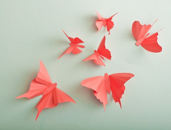 3D Wall Butterflies, 10 Papaya Butterfly Silhouettes for Girls Room, Nursery, and Home Art Decor