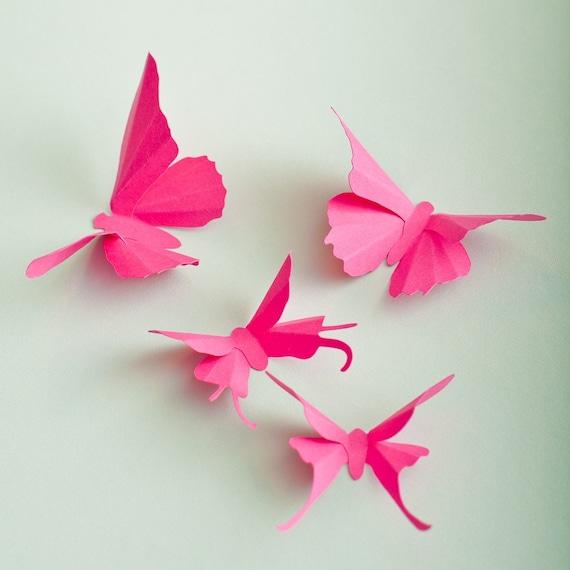 mur 3d papillons papillon rose fuchsia silhouettes pour. Black Bedroom Furniture Sets. Home Design Ideas
