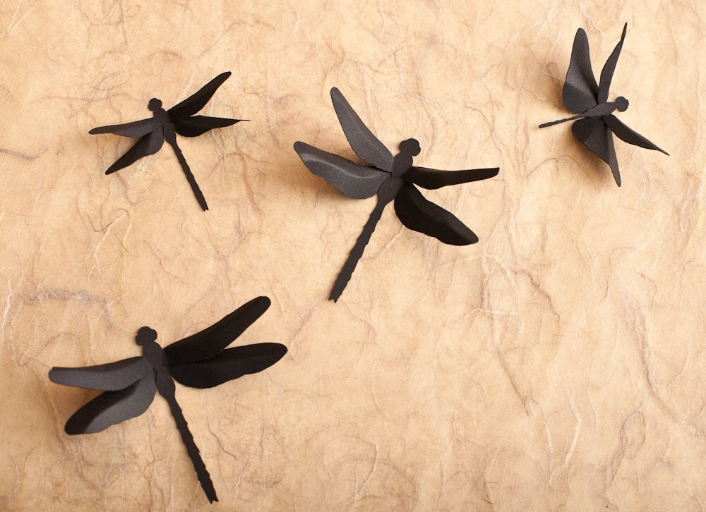 Dragonfly wall decor 3d wall dragonfly silhouettes in black for Dragonfly mural