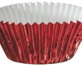 50 Red Foil Cupcake Liners Standard Size Baking Cups 2x1-1/4