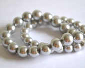 Amelia - Gray pearls on stretch cord for a comfortable fit - handmade fabulous jewelry