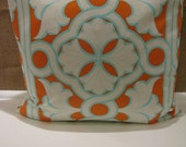"18"" Fun and Fab Orange & Turquoise Modern Pillow"