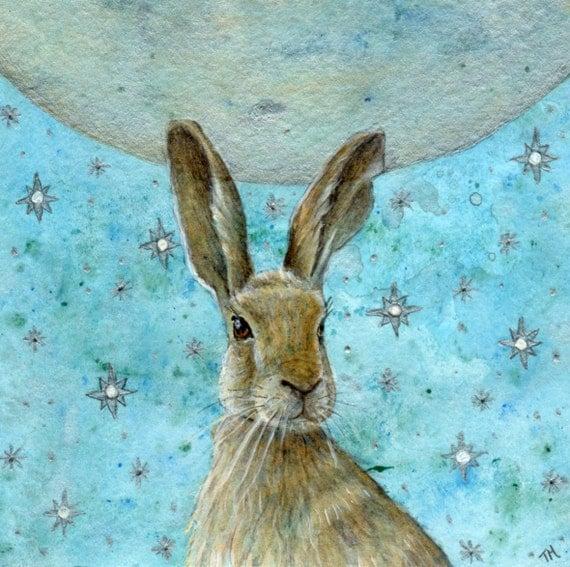 Stargazing -Artist print - Hare