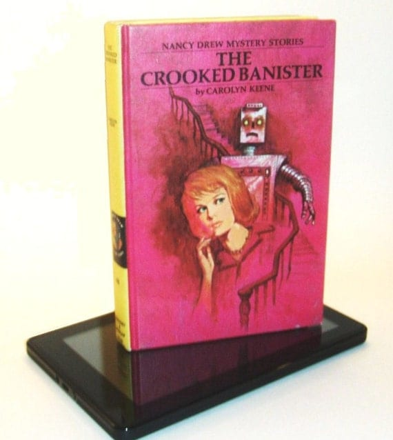 """Kindle case / cover made from Nancy Drew """"Crooked Banister"""" - converts to stand"""