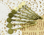 10Pcs Wholesale Antique Brass Hair  pins Clip with 8mm pads NICKEL FREE (pin50-8)