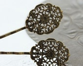 10  Wholesale Antique Brass Filigree Hair  pins Clip Setting NICKEL FREE( PINSS-9)