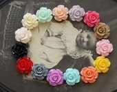 50% off -15 pcs Wholesale Beautiful Mix Colorful Rose Flower Resin Cabochon   -15colors  -12mm(CAB-AK-MIXSS-101)