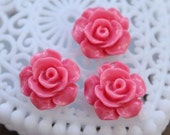 50% off -Wholesale Beautiful   Colorful Rose Flower Resin Cabochon   - -12mm(CAB-AK-10)