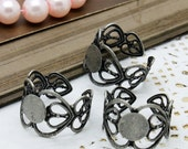 10 PCS  Wholesale Adjustable Antiqued Silver  plated brass  Filigree Rings jewelry ring blank setting With 8mm Pad (Nickel Free)-(RINGSS-2)