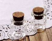 50 pcs 25x22mm Clear Glass Tiny Bottle Vials Charms / Pendants with  With Corks /EYEHOOKS (BOT-35)
