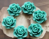 Wholesale Beautiful  Colorful Rose Flower Resin Cabochon   --20mm(CAB-S -18)