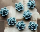 10PCS  Wholesale Beautiful  Colorful 6-petal Flower Resin Cabochon - -12mm(CAB-I -4)
