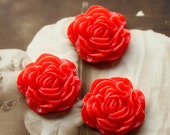 50% off -  23mm Beautiful  Colorful Peony Ruffled Resin Flower Cabochon - (CAB-BX- 4)