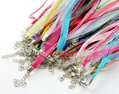 18colors 18pcs  mixture of Organza ribbon necklace with lobster claw clasp and 2in extender(CHAINSS-6)
