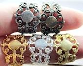 10PCS Mix Color Strong Adjustable plated Raw Brass Rings jewelry ring blank setting With 8mm Pad Nickel Free-(RINGSS-37)
