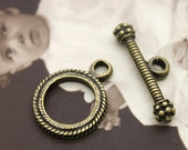 8sets 22x18mm Antiqued Bronze round Twisted Toggle Clasp   (HAB-70)