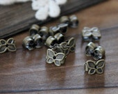 50 pcs  Antique Bronze Brass  Plated   Earring Studs Back Stoppers   6x4mm Nickel Free  (EAR-58)