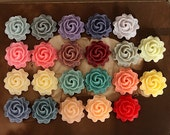 46pcs Wholesale Beautiful Mix Colorful Rose Flower Resin Cabochon   -22colors  -20mm(CAB-AA-MIXSS)