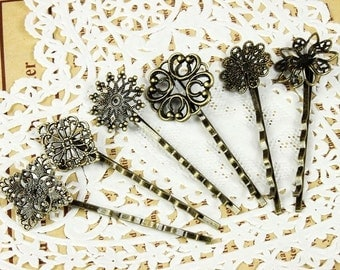 30Pcs Wholesale Antique Brass Filigree Hair  pins Clip Setting (6 Styles),  ( PINSS-MIXSS-2)