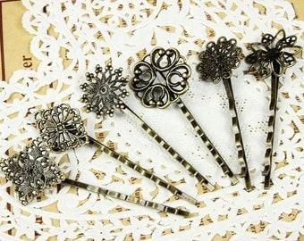30Pcs Wholesale Antique Brass Filigree Hair  pins Clip Setting (6 Styles),  ( PINSS-MIXSS-2)