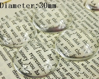 10Pcs( 30mm Diameter) -SALE-Round Clear Glass Cabochon- thick dome top gems for pendants - photo charms