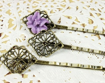 10Pcs Wholesale Antique Brass Filigree Hair  pins Clip Setting- high quality-NICKEL FREE( PINSS-13)