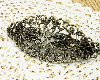 10  Pcs Antique Brass Bronze Plate  Filigree Floral Head Clip Setting  NICKEL FREE