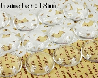 Big sale-500Pcs( 18 mm Diameter) -Round Clear Glass Cabochon- thick dome top gems for pendants - photo charms