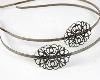 50Pcs Adjustable Antique  Raw Brass Plated  Bronze  Filigree Floral HeadBand Setting NICKEL FREE (HBSB-2)