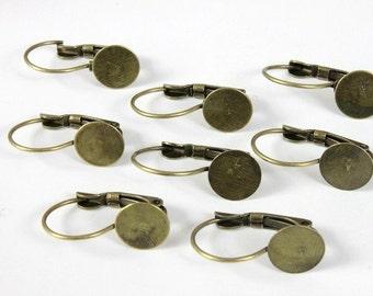 50 Pcs  Antique Brass  Earring ear hook 9 mm pad  NICKEL FREE-21mm  (EAR-1)