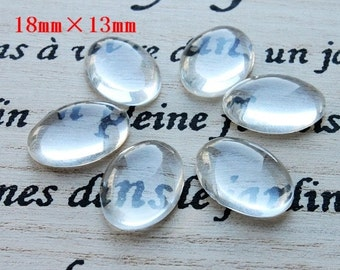 Big sale-100Pcs( 13X18mm) - oval  Clear Glass Cabochon- thick dome top gems for pendants - photo charms