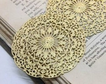 10pcs  Big  RAW Brass Filigree  Jewelry Stampings ConnectorsSetting Cab Base Connector Finding  (FILIG-RB-9)