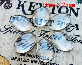 Big sale-100Pcs( 25X18mm) - oval  Clear Glass Cabochon- thick dome top gems for pendants - photo charms