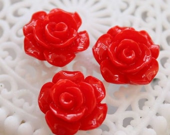 50% off -Wholesale Beautiful   Colorful Rose Flower Resin Cabochon   - -12mm(CAB-AK-26)