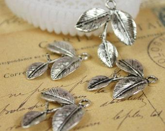 Big SALE-20pcs Antique Silver Charms/Pendants- (Three Leaf   ) 23x23mm(HAB-20)
