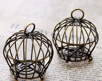 2 pcs Antique Bronze  Lovely Handmade Filigree BirdCage  Charms/Pendants-  40x38mm(HAB-BirdCage-1)