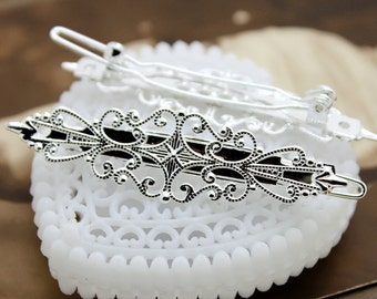 10 Pcs Adjustable Silver plated brass Filigree Floral Hair Clip Setting NICKEL FREE