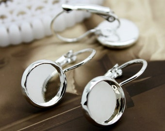 10Pcs 10mm Silver plated  brass Earring ear hook  Hoop with 10mm Round Pad NICKEL FREE (EAR-5)