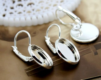100Pcs 14mm Silver plated  brass Earring ear hook  Hoop with 14mm Round Pad NICKEL FREE (EAR-6)