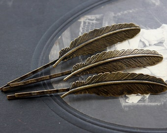 10pcs Wholesale Antique Brass Filigree Feather  Hair  pins Clip Setting- high quality ( PINSS-30)
