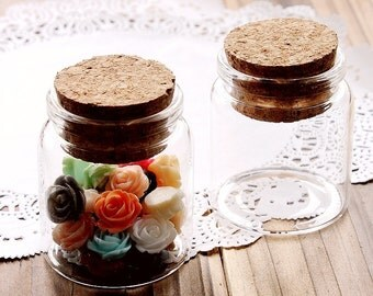 10 pcs 50x47mm Clear Glass   Bottle Vials Charms / Wedding candy  With Corks /EYEHOOKS (BOT-33)